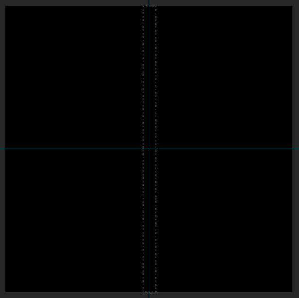 4,然后使用矩形选框工具,以竖向参考线为中央做一个长方形的选区图片